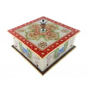 Marble Dry fruit box with Real kundan work of Rajasthan