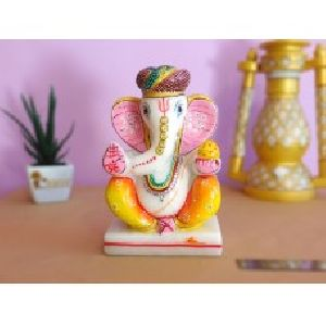 Pagdi Ganesha Made of Marble With Beautiful Painting