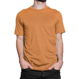 Mens Ochre Round Neck Plain T-Shirts