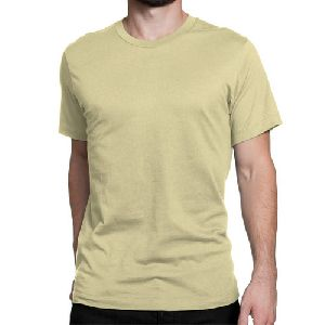 Mens Sand Color Round Neck Plain T-Shirts