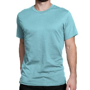 Mens Turquoise Round Neck Plain T-Shirts