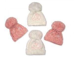 Baby Girl Pom-Pom Hats