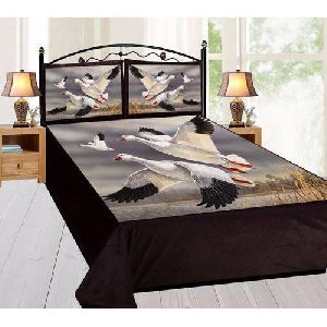 Bird Print Velvet Double Bed Sheet Set