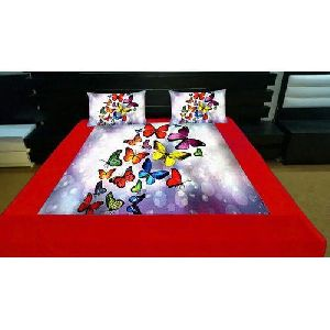 Butterfly Print Velvet Double Bed Sheet Set