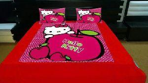 Kitty Print Velvet Double Bed Sheet Set