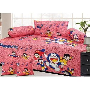 Cartoon Print 	Diwan Bed Sheet Set