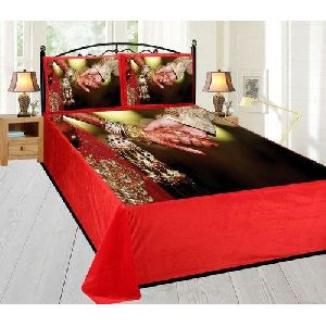 Wedding Photo Print Velvet Double Bed Sheet Set