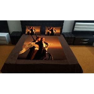 Titanic Couple Print Velvet Double Bed Sheet Set