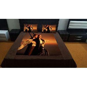 Titanic Couple Print Velvet Double Bed Sheet Set