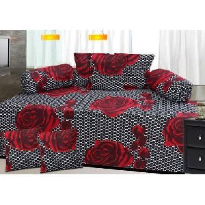 Rose Print Diwan Bed Sheet Set