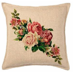Floral Print Jute Cushion Covers