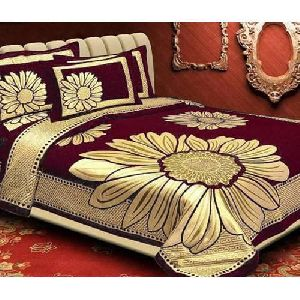 Flower Design Chenille Double Bed Sheet Set