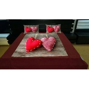 Heart  Print Velvet Double Bed Sheet Set