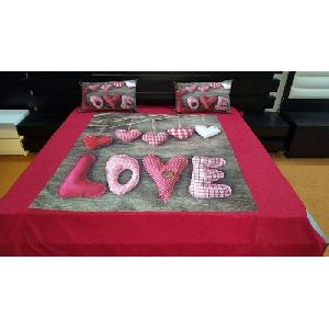 Love Print Velvet Double Bed Sheet Set
