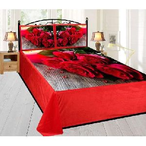 Rose Print Velvet Double Bed Sheet Set