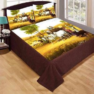 Village Scene Print Velvet Double Bed Sheet Set