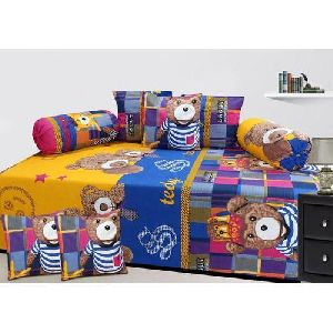 Teddy Print Diwan Bed Sheet Set
