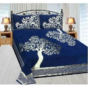 Tree Design Chenille Double Bed Sheet Set