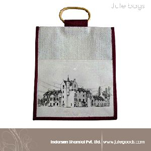 dyed gusset cane handle jute bag