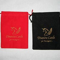 Black and Red Velvet Drawstring Pouches