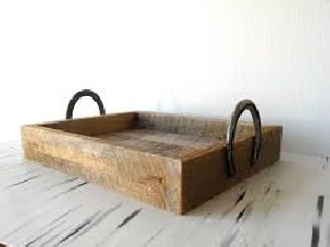Wooden Tray With Metal Handles 01