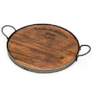 Wooden Tray With Metal Handles 02