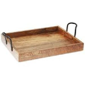 Wooden Tray With Metal Handles 03