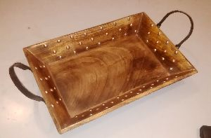Wooden Tray With Metal Handles 04