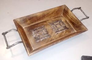 Wooden Tray With Metal Handles 05