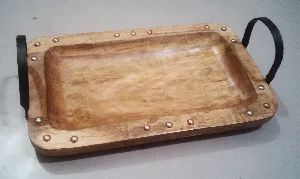 Wooden Tray With Metal Handles 06