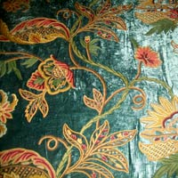 Big Flowers Crewel Curtain Fabric