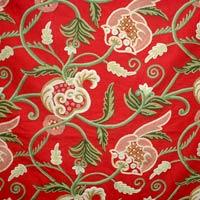 Green Leaves Crewel Curtain Fabric