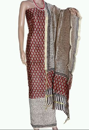 Block Print Chanderi Churidar Suit Material