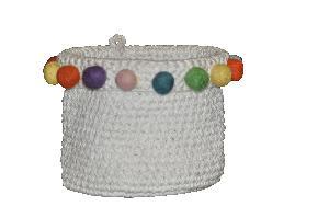 AW-Crochet Cotton Basket with Pom Pom -119