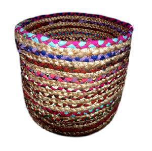 AW - Jute Chindi Braided Basket- 001