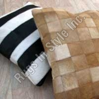 Leather Cushion Cover-Stripe & Blocks