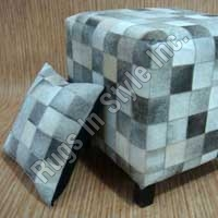 Leather Pouff & Cushion (Black & Grey)