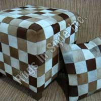 Leather Puff & Cushion Beige (Brown)