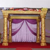 Golden Carved Wedding Mandap