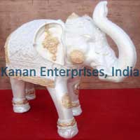 White & Gold Fiber Elephant Statue