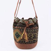 Blanket Leather Bucket Bag