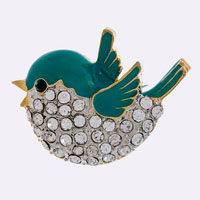 Crystal Encrusted Bird Brooch