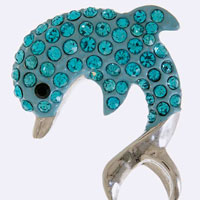 Crystal Encrusted Dolphin Brooch