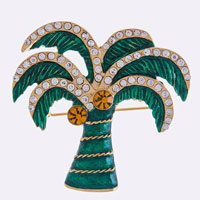 Crystal Lined Palm Tree Brooch