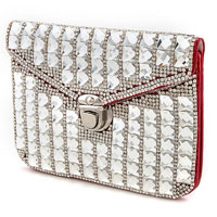 Faceted Jewel Lined Mini Clutch Purse