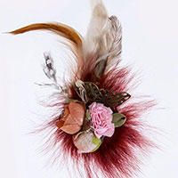Fuzzy Floral Butterly Hair Pin