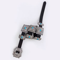 Genuine Leather Square Turquoise Accent Belt
