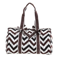 Quilted Chevron Print Duffle Bag