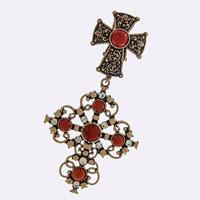 Rhinestone Cross Scarf Pendant