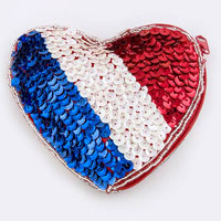 Sequin France Flag----  given Coin Clutch Purse